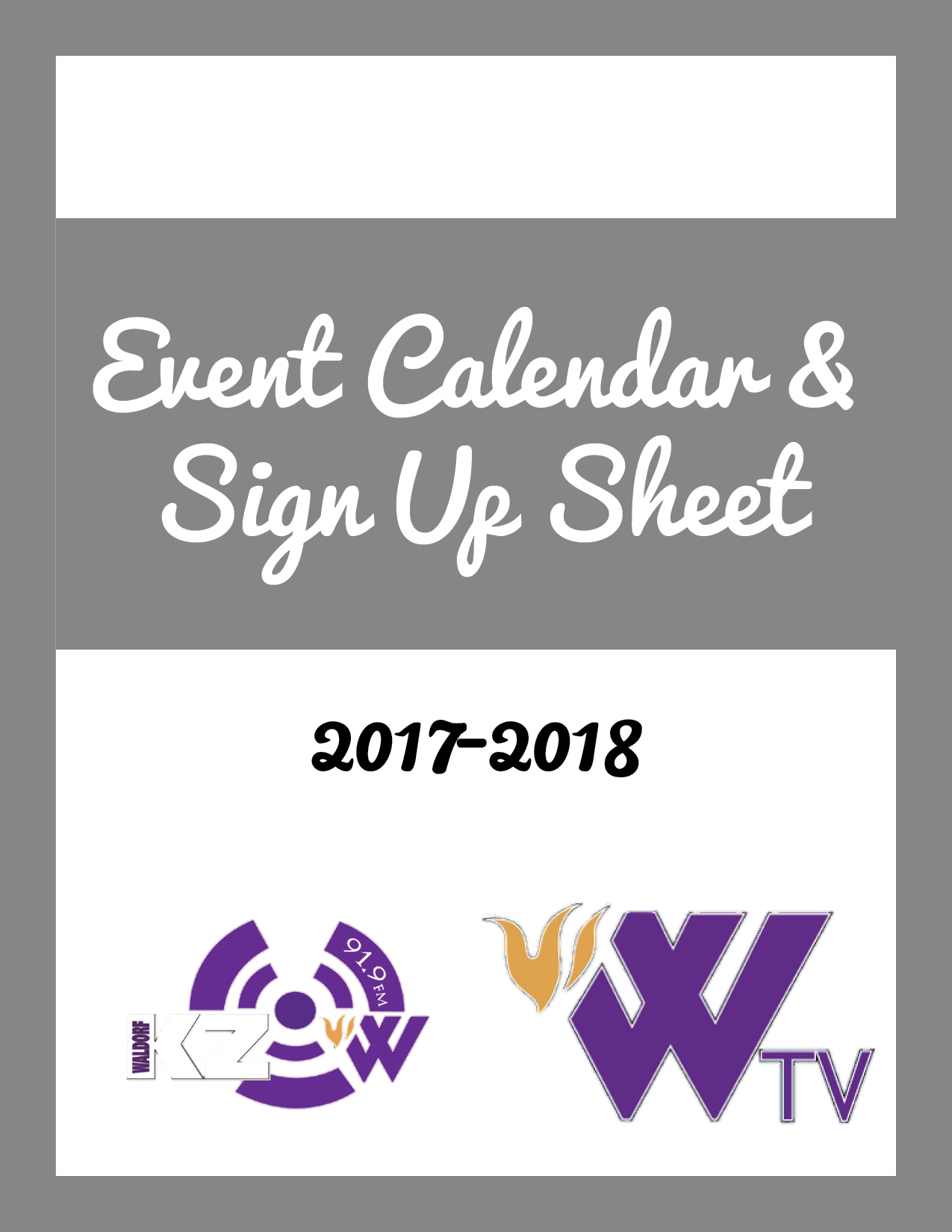 Cover page of event calendar and sign up sheet