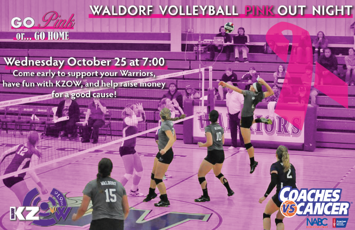 Graphic for an upcoming volleyball game promoting breast cancer awareness