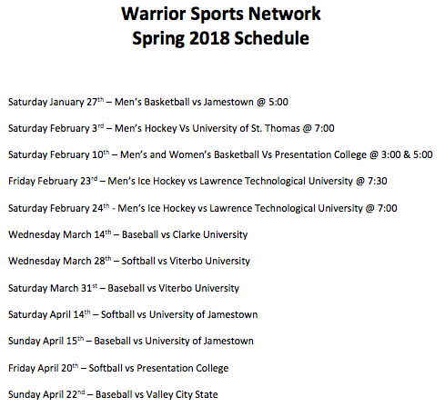 Graphic schedule for WSN Game coverages