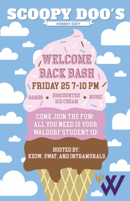 Welcome Back Bash poster for ice-cream event at Scoopy Doos. Event hosted by KZOW, SWAT and INTRAMURALS