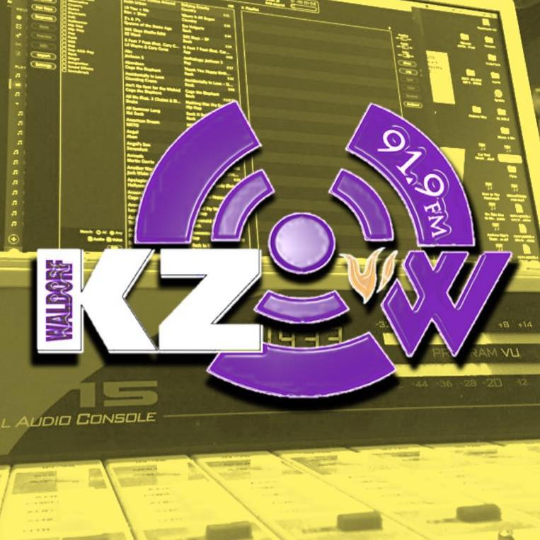 Logo of KZOW and yellow background