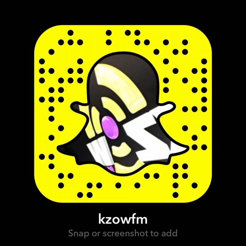 Graphic for snapchat filter to add KZOW on Snapchat
